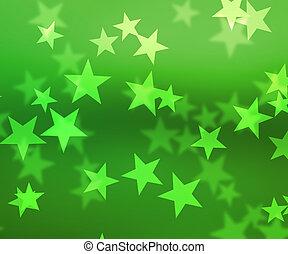 Green Stars Bokeh Background