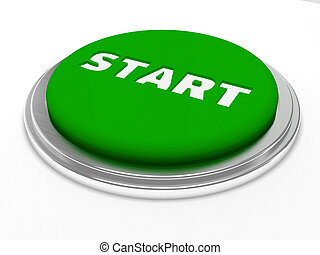Green start button isolated