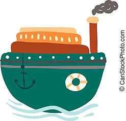 Green steam ship with anchor vector or color illustration