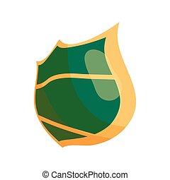 Green steel shield icon, cartoon style
