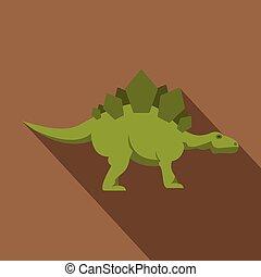 Green stegosaurus dinosaur icon, flat style