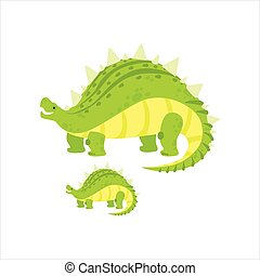 Green Stegosaurus Dinosaur Prehistoric Monster Couple Of Similar Specimen Big And Small Cartoon Vector Illustration
