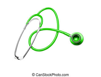 green Stethoscope isolated on a white background
