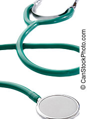Green stethoscope isolated