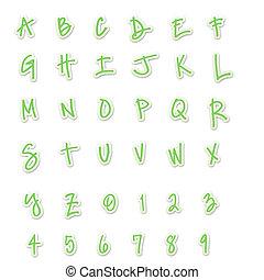Green Sticker Style ABC's