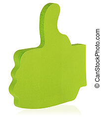Green sticky note stuck in the shape of a raised thumb, like it.