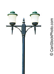 green street lamp post isolated