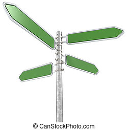 Green Street Sign. - Street Sign X 4. Green and blank for...