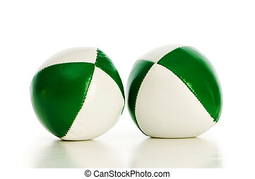 Green stress balls isolated on the white