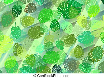 Green background with stripes and lines for your own projects with leaves of the monstera plant
