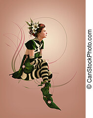 Green striped dressed Girl 3d Computer Graphics - 3d...