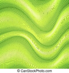Green striped waves 3d abstract background