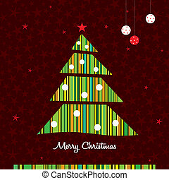 Green stripes Christmas tree background. Vector.