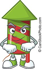Green stripes fireworks rocket mascot cartoon style with Smirking face