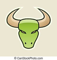 Green Strong Bull Icon Vector Illustration