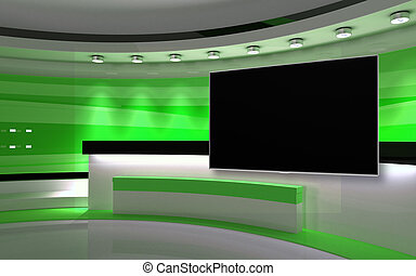 Green Studio. Green wall with light. Green background. Green...