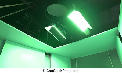 Green studio lighting equipment LED color effect stands grip cinema commercial video production camera movement