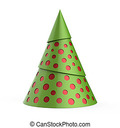 Green stylized Christmas tree with red decoration