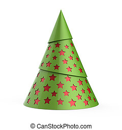 Green stylized Christmas tree with red stars