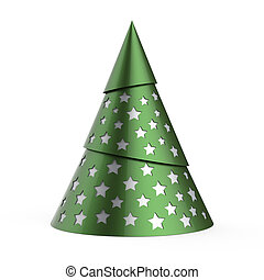 Green stylized Christmas tree with silver stars