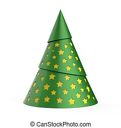 Green stylized Christmas tree with yellow stars