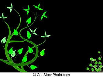 Green Stylized Floral Illustration
