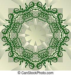 Green stylized mandala blank center for ext banner vector