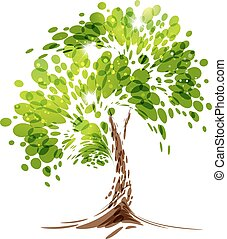 Green stylized vector tree on white background