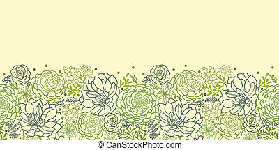Vector Green Succulent Plants Horizontal Seamless Pattern Ornament Background Texture With hand drawn doodle seaweed.