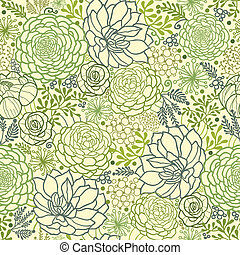 Vector Green Succulent Plants Seamless Pattern Background Texture With hand drawn doodle seaweed.