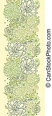 Green succulent plants vertical seamless pattern border -...
