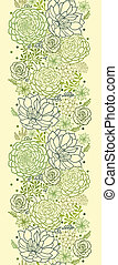 Green succulent plants vertical seamless pattern border -...