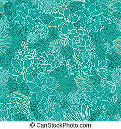 Vector green succulents seamless pattern background with hand drawn elements