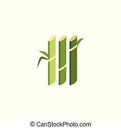 Green sugar cane plant stalks - geometric flat icon of sugarcane farm produce