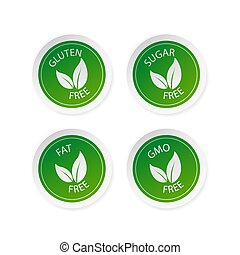 Green sugar free, fat free, gluten free and gmo free stickers set in flat style. Vector illustration.