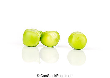 Green sugar snap pea isolated on white - Closeup of three ...