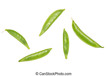 Green sugar snap pea isolated on white - Group of five whole...