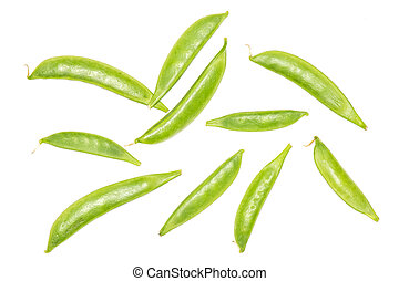 Green sugar snap pea isolated on white - Group of ten whole ...