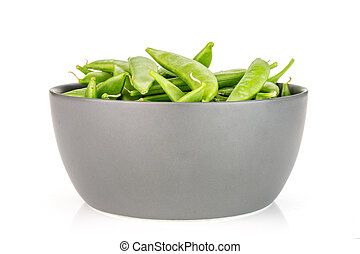 Green sugar snap pea isolated on white - Lot of whole green ...