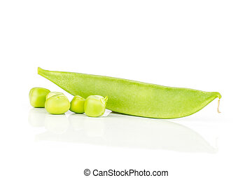 Green sugar snap pea isolated on white - One whole green ...