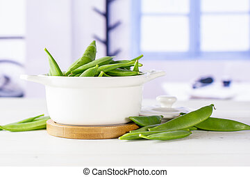 Green sugar snap pea with blue window - Lot of whole green ...