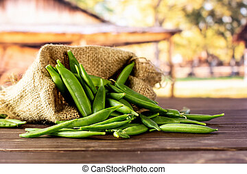 Green sugar snap pea with cart - Lot of whole green sugar ...