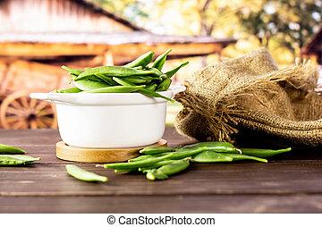 Green sugar snap pea with cart