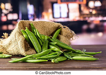 Green sugar snap pea with restaurant - Lot of whole green ...