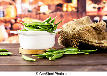 Green sugar snap pea with rustic kitchen - Set of lot of ...
