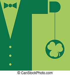 Green mens suit with bow tie and yo yo shamrock