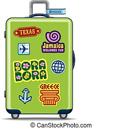Green suitcase for travel with travel stickers. Vector...