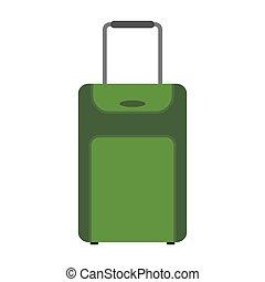green suitcase travel equipment