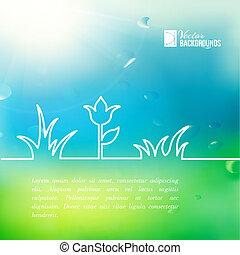 Green summer flower design. Vector illustration.
