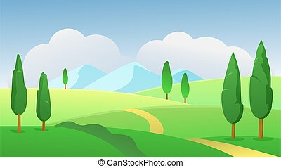 Green summer nature landscape vector illustration. Cartoon flat sunny day panoramic scenery with natural greenery, trees and grass meadow field and road on hills, summertime grassland background